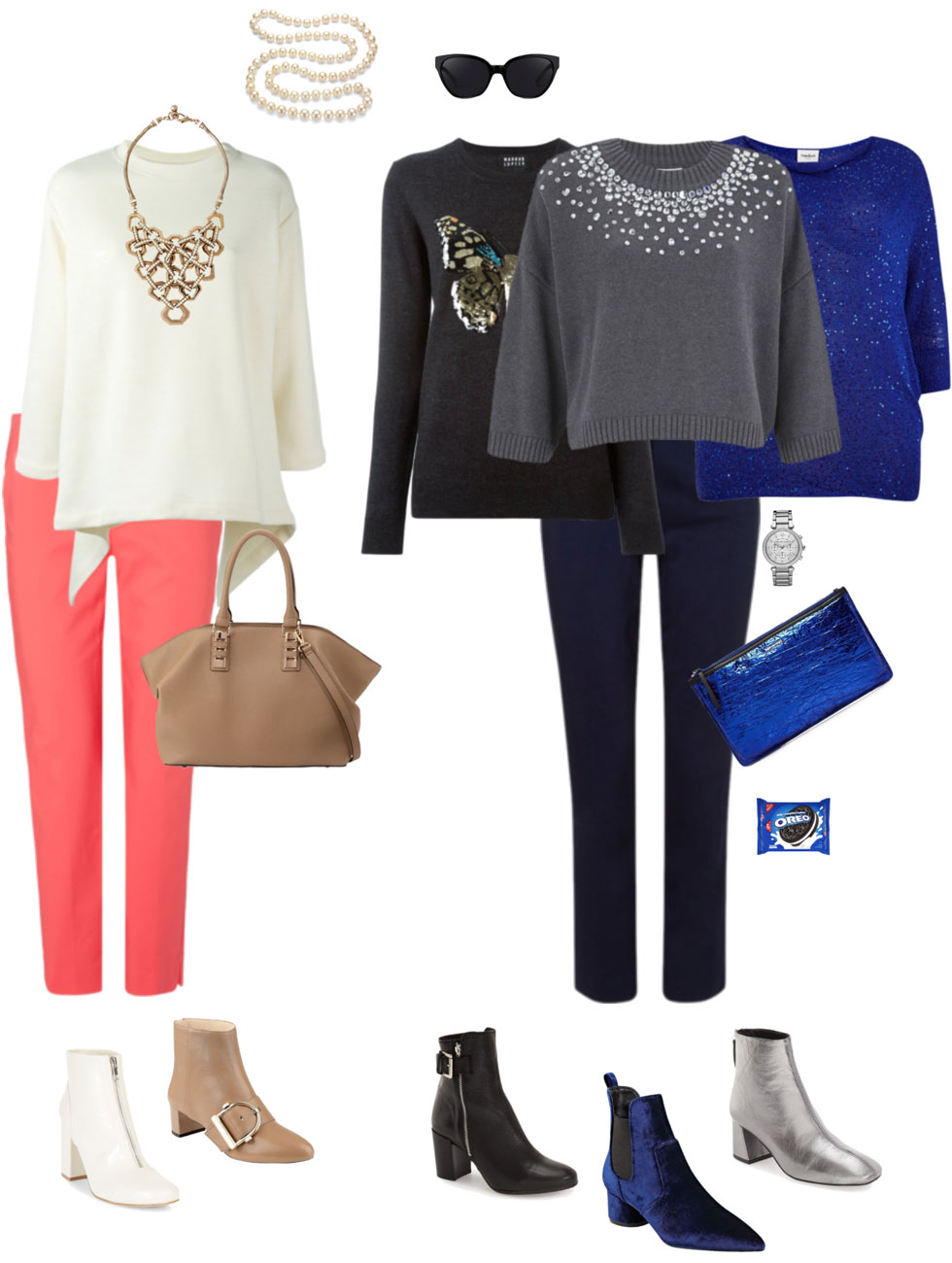 Ensemble: Cropped Pants, Pullover, Music & Booties