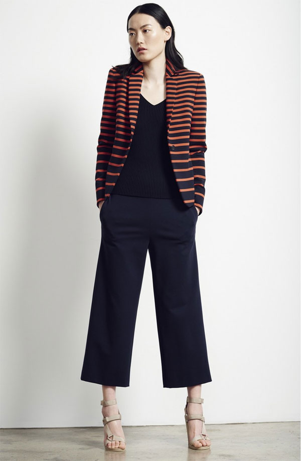 Akris punto Leather Trim Stripe Blazer