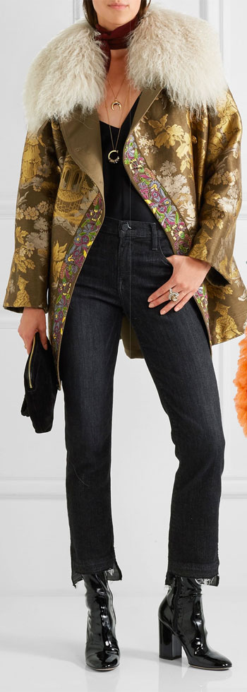 ETRO Reversible Embroidered Shearling-trimmed Brocade Jacket