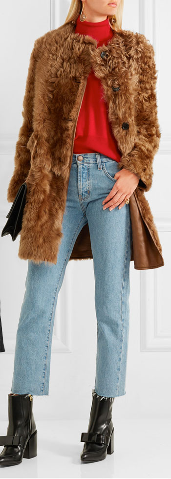 MARNI Reversible Shearling and Leather Coat
