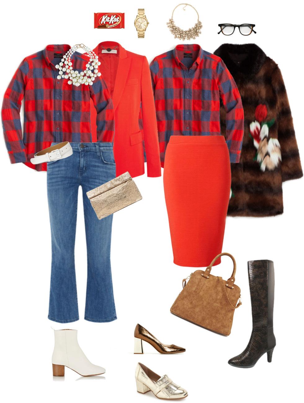 Ensemble: Two Plaid Shirt Combinations