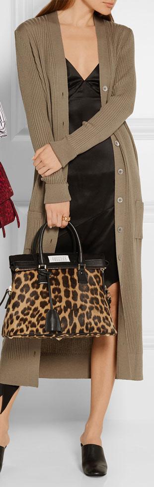MAISON MARGIELA 5AC Small Leopard-print Calf Hair Tote