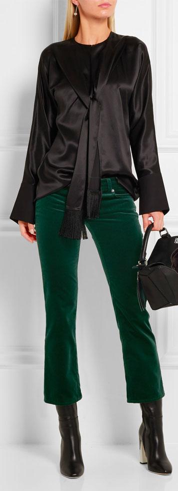 MM6 MAISON MARGIELA Cropped Velvet Slim-leg Pants
