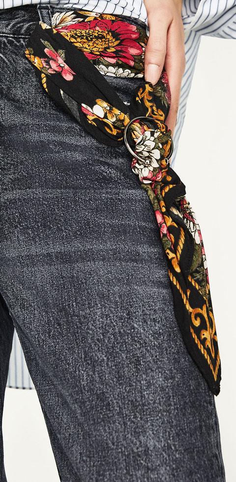 Zara High Rise Jeans with Printed Scraf