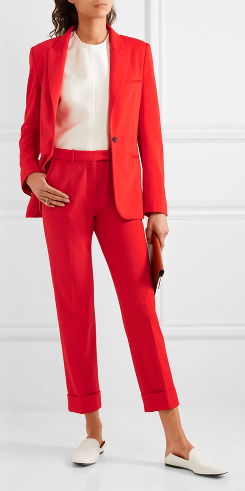 CEFINN Cropped Stretch-wool Slim-leg Pants