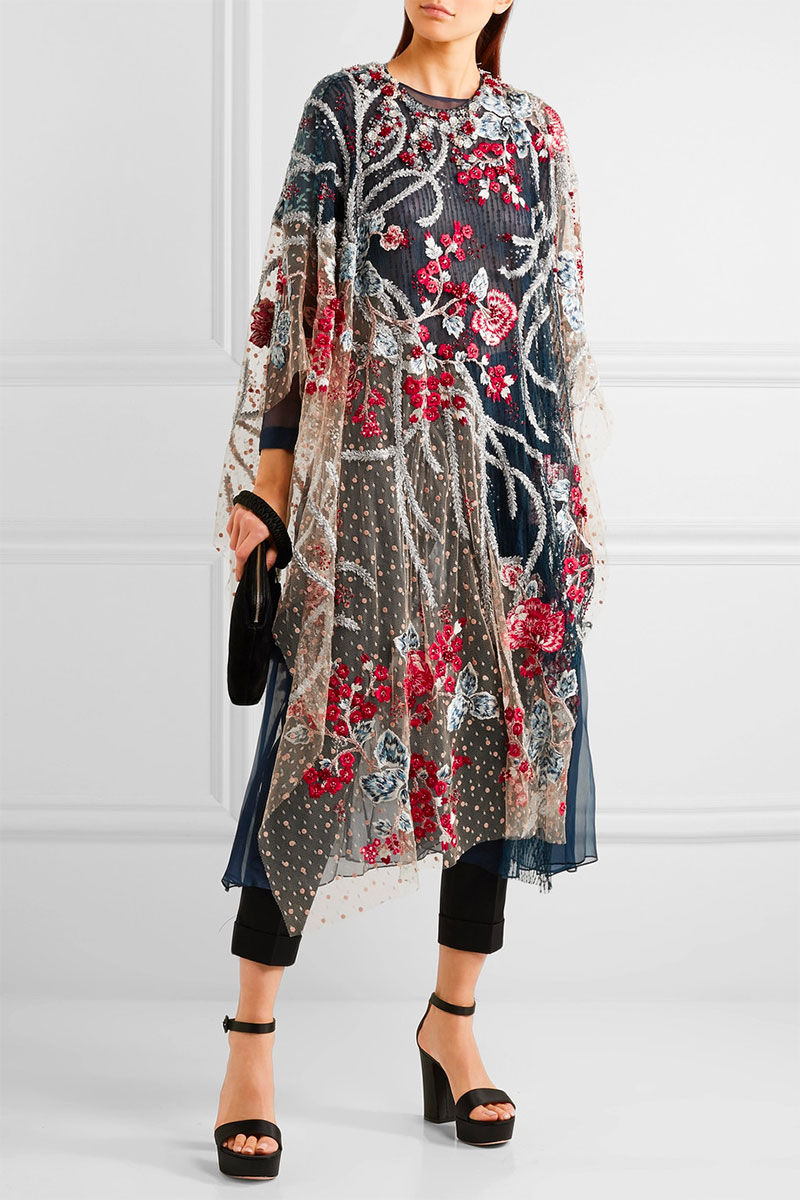 BIYAN Arachne Embellished Embroidered Tulle Tunic