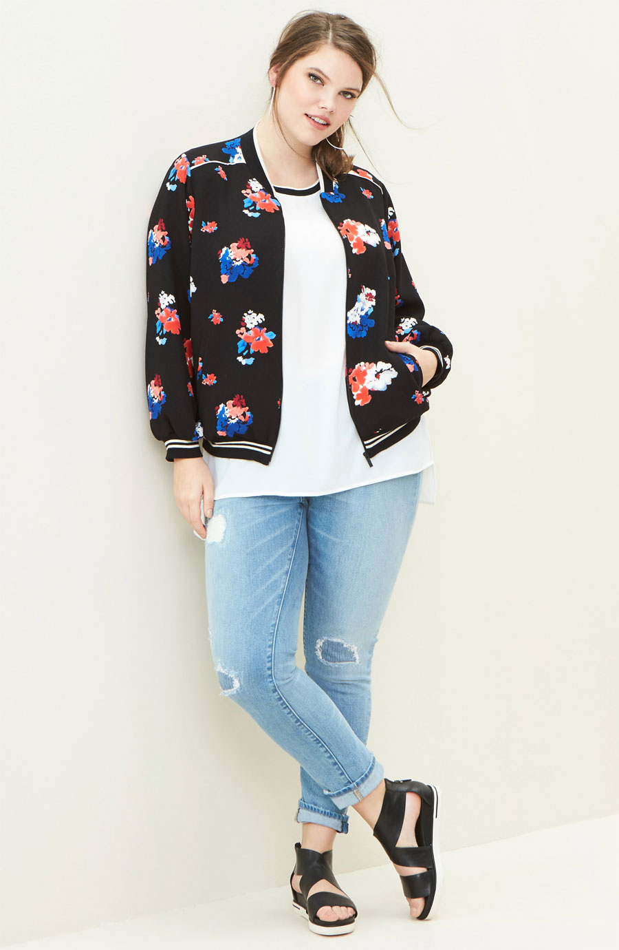 Vince Camuto Floral Print Bomber Jacket