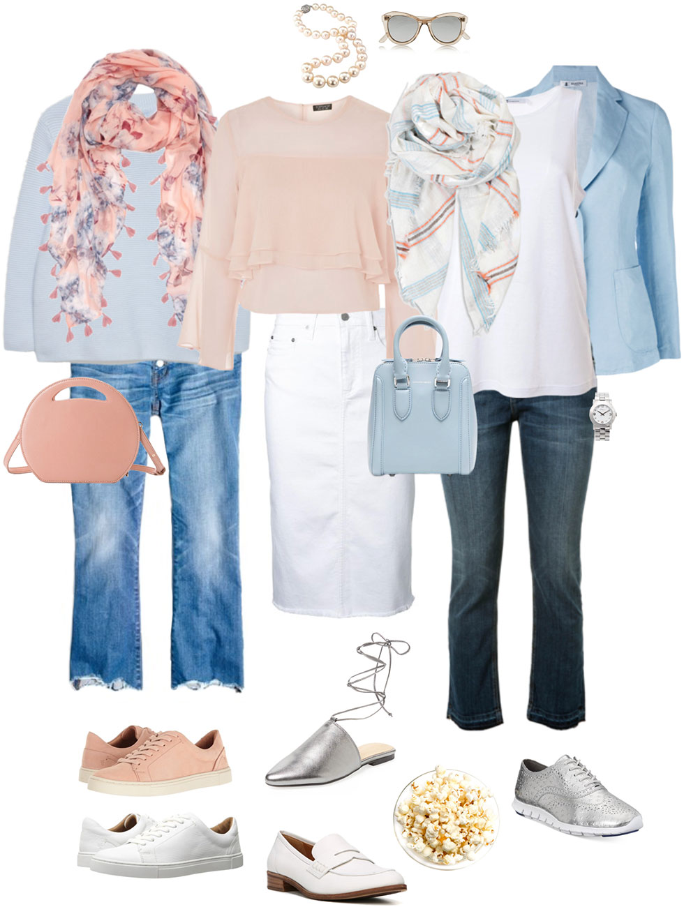 Ensemble: Casual Pastel Pink & Blue