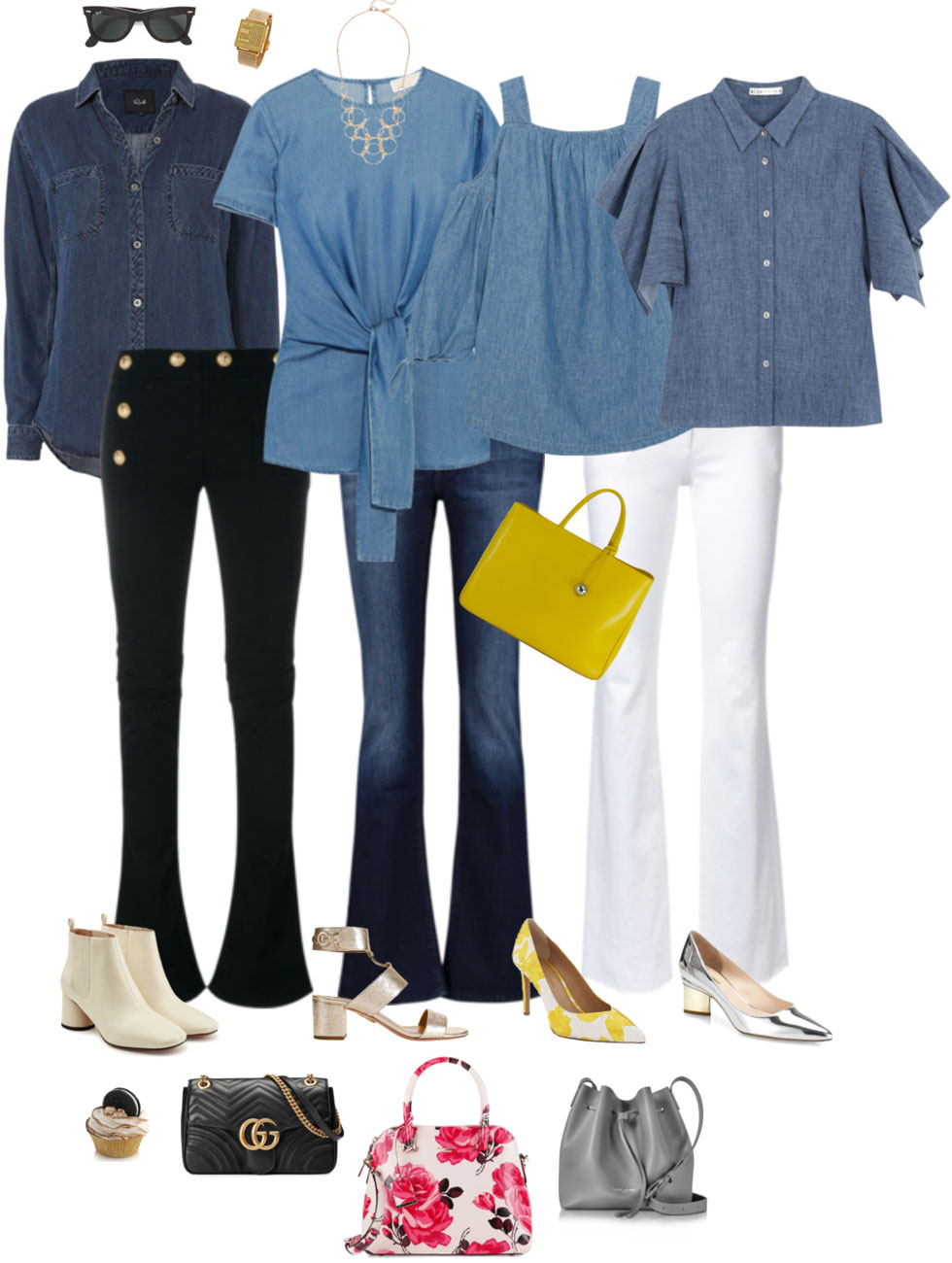 Ensemble: Denim Shirt & Bootcuts or Bellbottoms