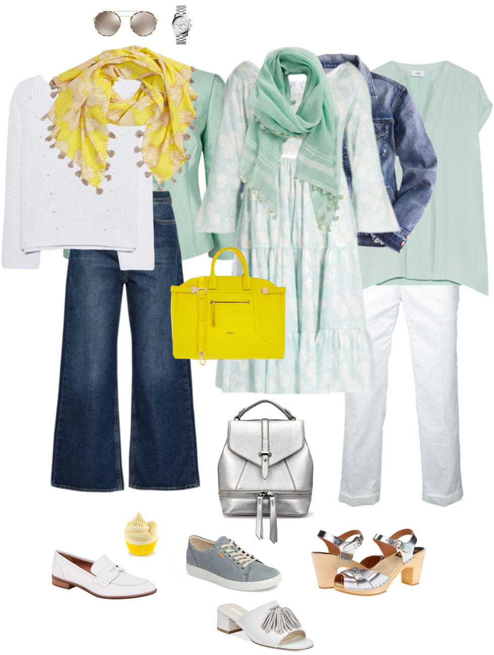 Ensemble: White, Blue, Seafoam & Citron