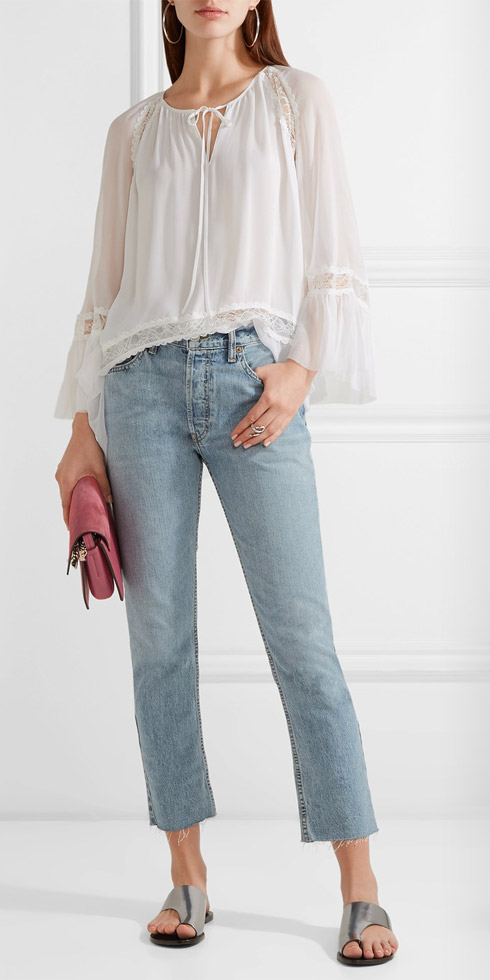ALICE-+-OLIVIA Luma Lace-paneled Silk-georgette and Chiffon Blouse