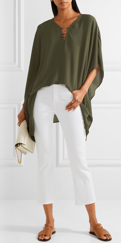 MICHAEL MICHAEL KORS Embellished Stretch-crepe Blouse