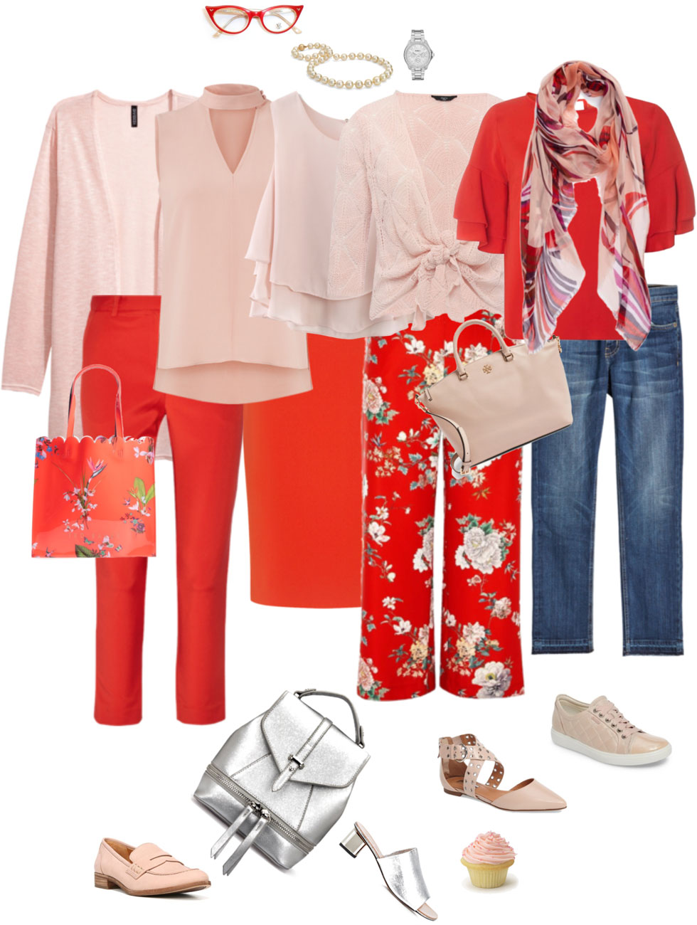 Ensemble: Soft Pink & Bright Red