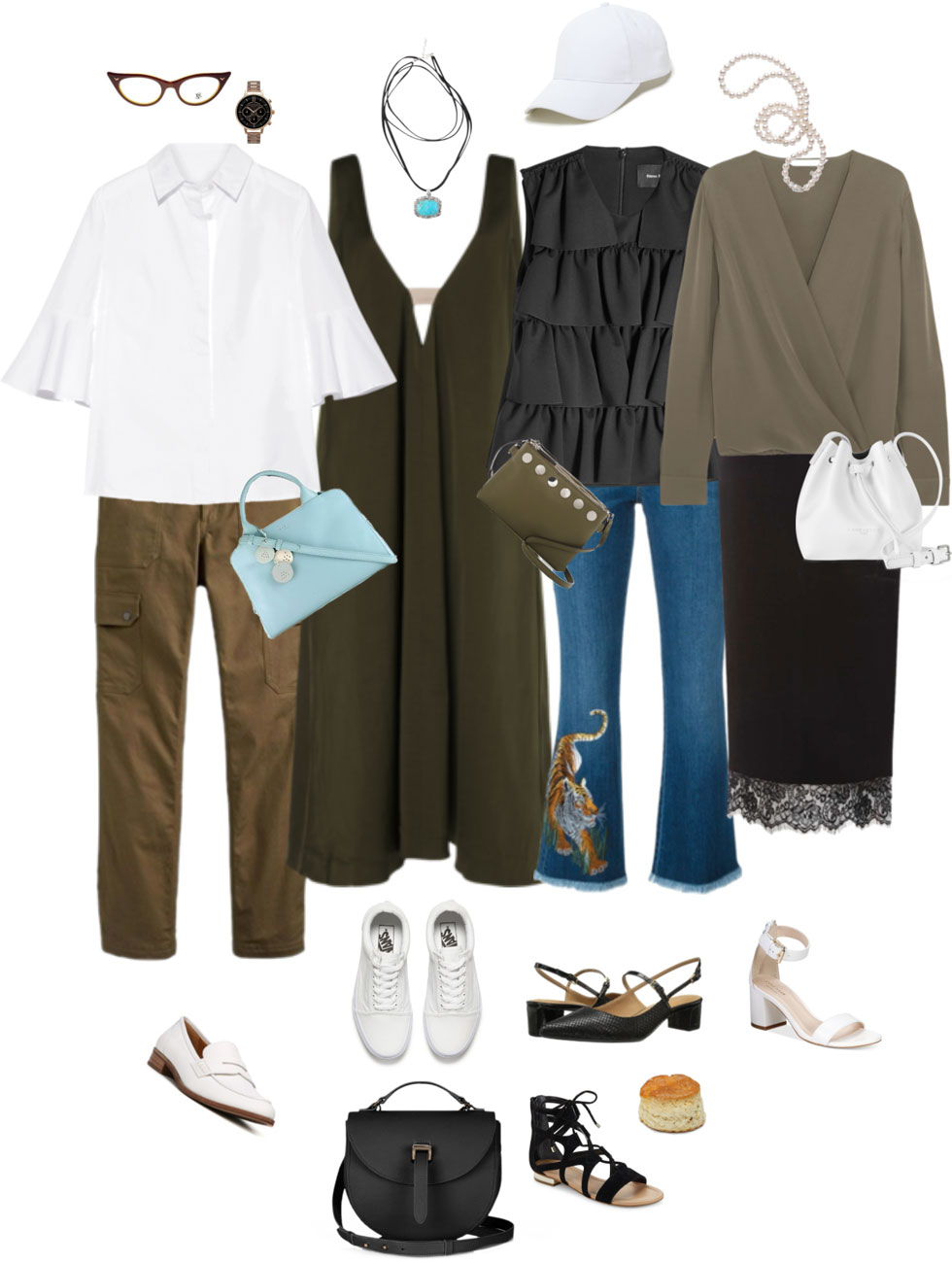 Ensemble: Summer Olive, Black & White