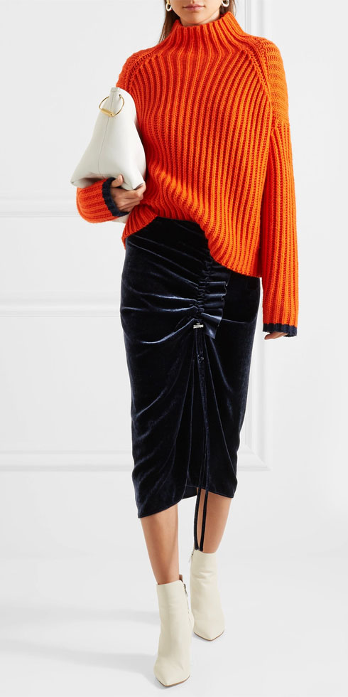CEDRIC CHARLIER Gathered Velvet Midi Skirt