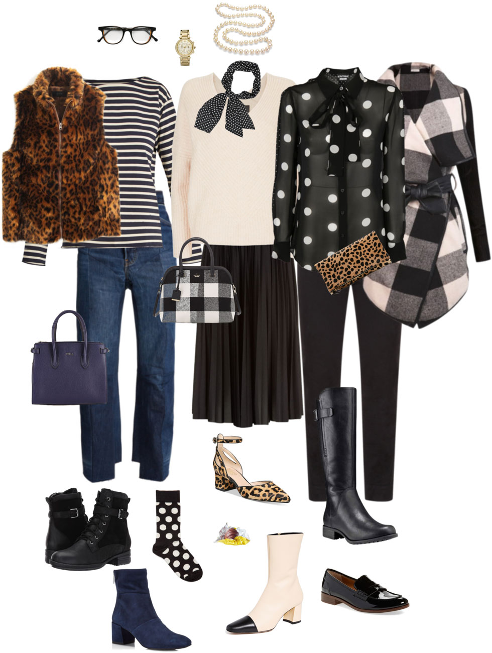 Ensemble: Stripes, Dots, Leopard & Plaid