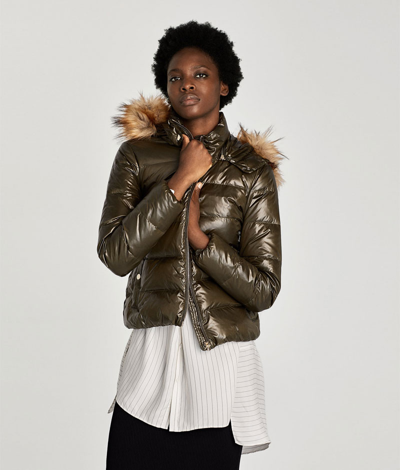 Zara Shiny Down Puffer Jacket