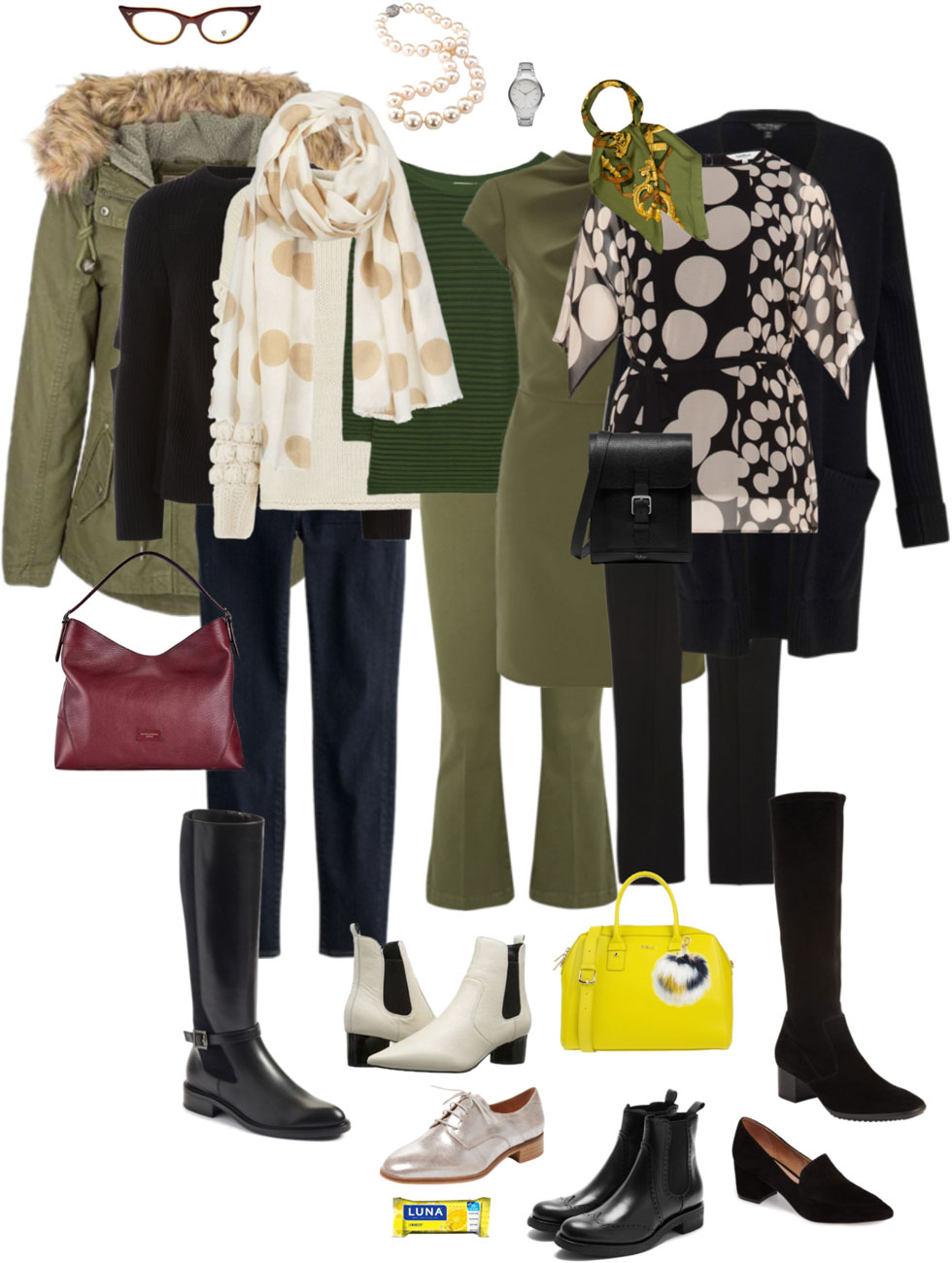 Ensemble: Olive, Black & Cream