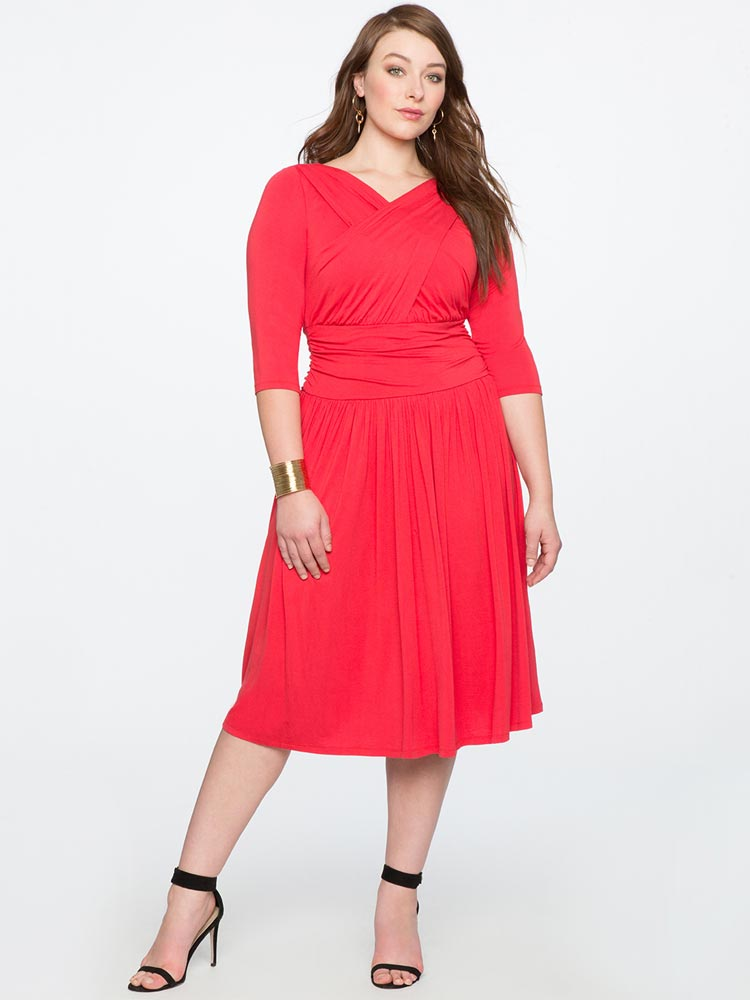 Eloquii Cross Front Ruched Dress