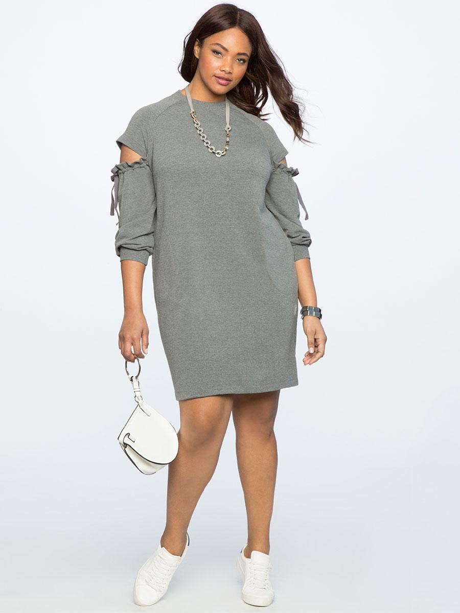 Eloquii Cut Out Shoulder Sweatshirt Dress