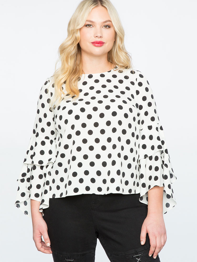 Eloquii Polka Dot Ruffle Sleeve Top