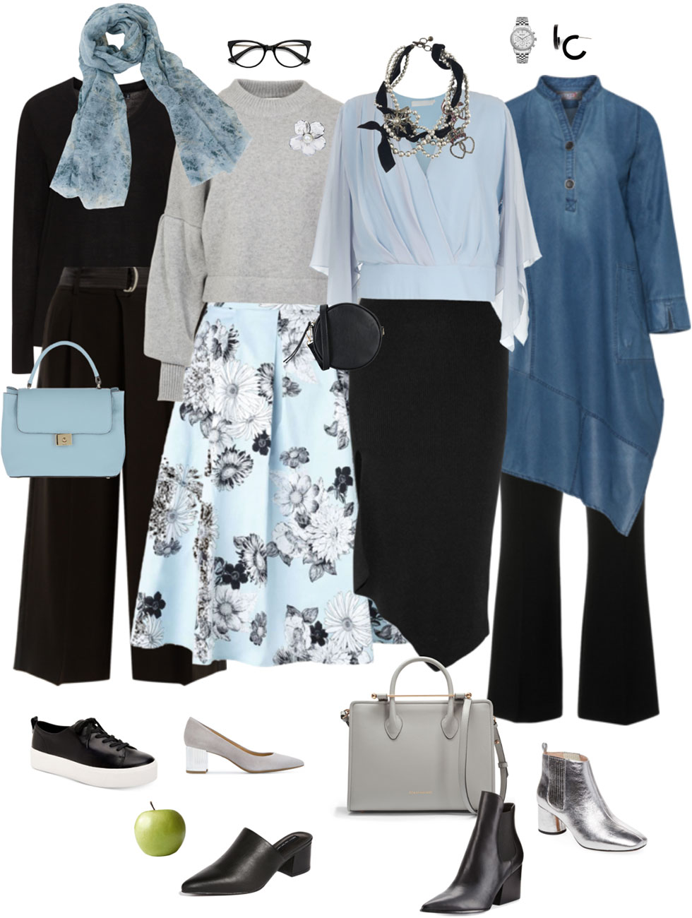 Ensemble Style Advice - Black & Light Blue