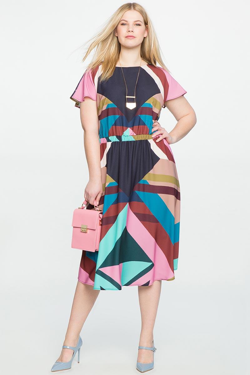 Eloquii Printed Flutter Sleeve Dress