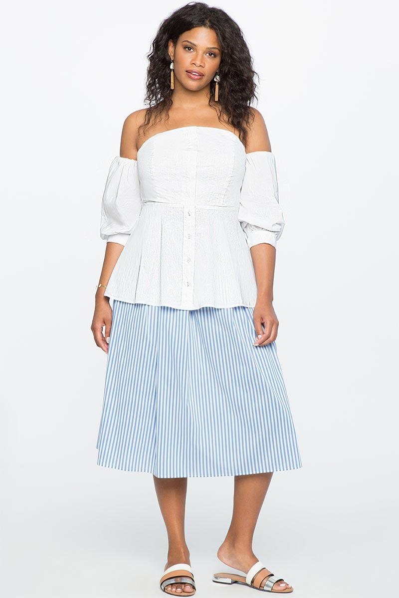 Eloquii Striped Side Tie Midi Skirt