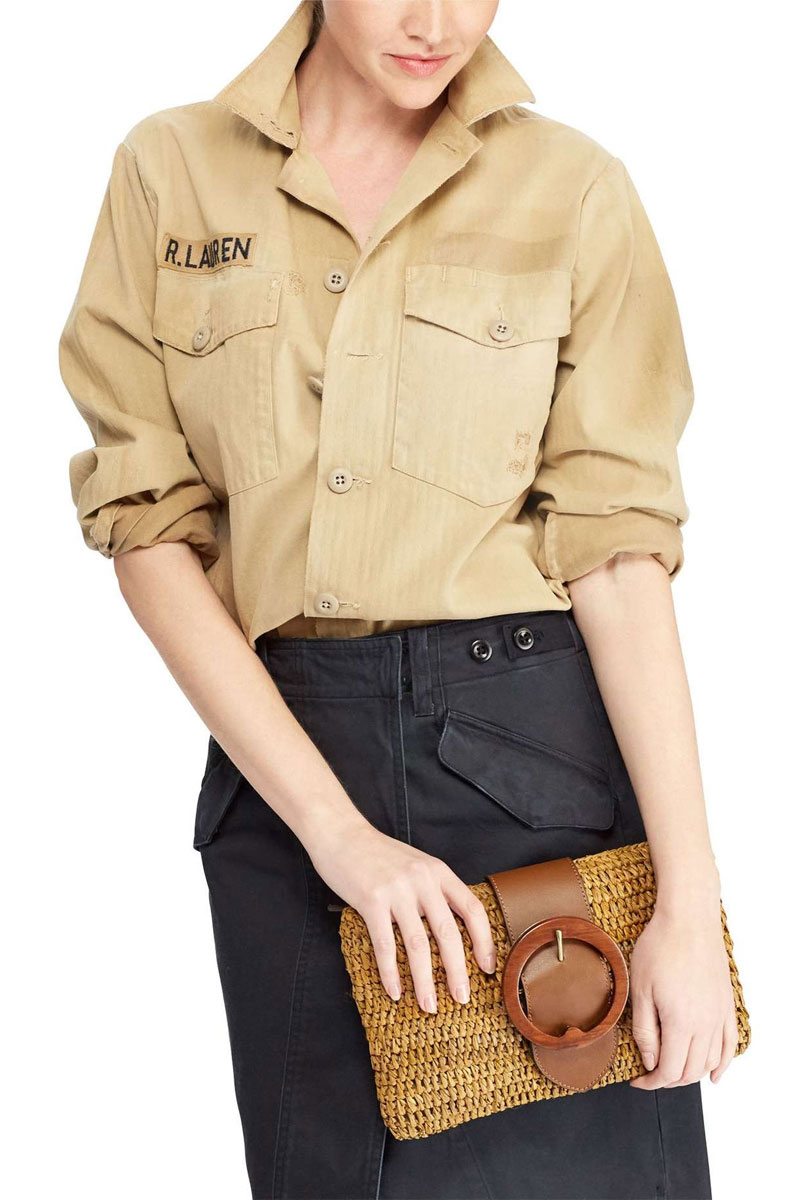 Polo Ralph Lauren Lennox Raffia & Leather Clutch