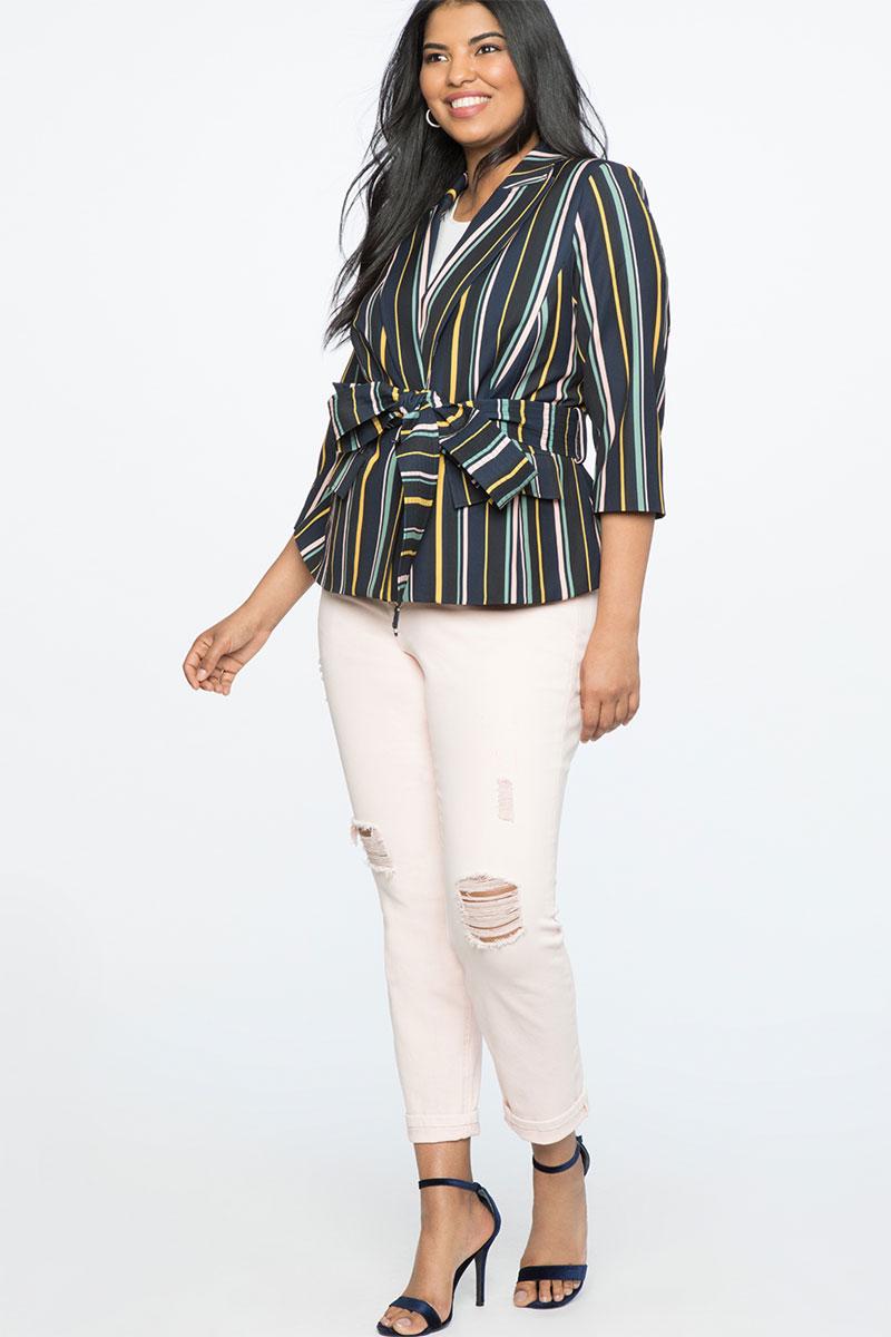 Eloquii Stripe Tie Waist Jacket