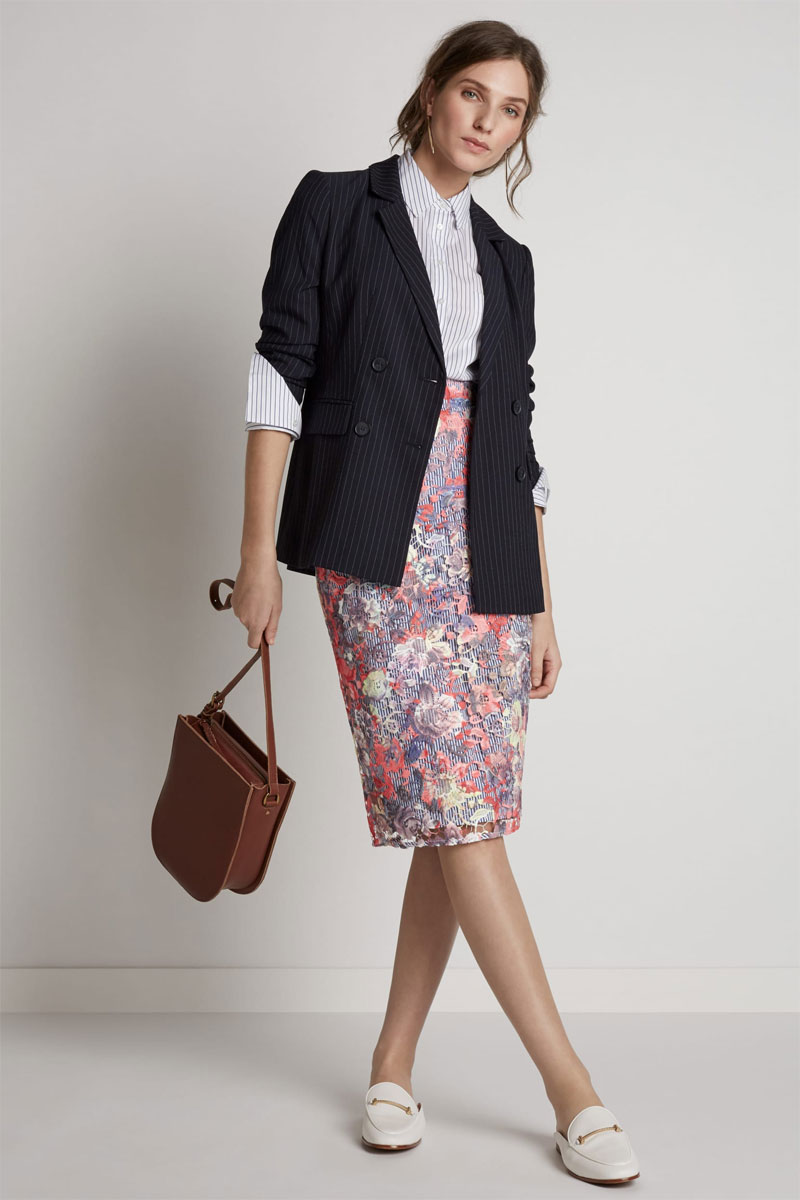 399ee8f8095 ... wear a shorter top and blazer. Halogen Lace and Pinstripe Pencil Skirt