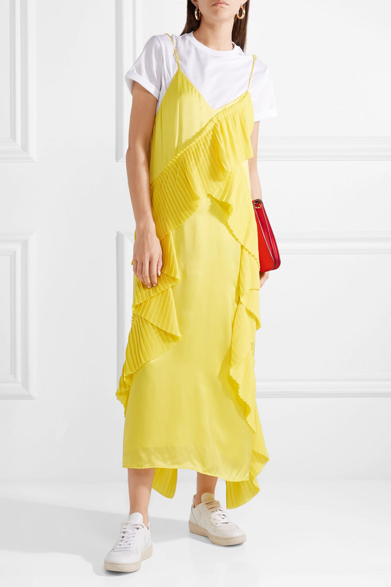 KENZO Pleated Ruffled Crepe and Satin Midi Dress