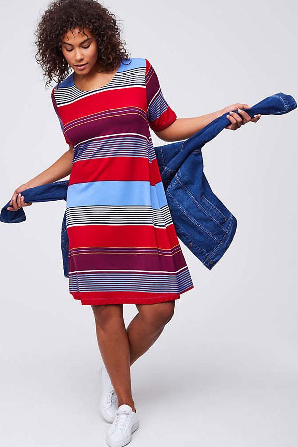 LOFT Plus Mixed Stripe Short Sleeve Swing Dress