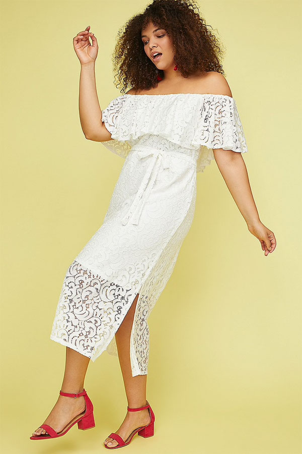 Lane Bryant Lace Off The Shoulder Fit and Flare Dress
