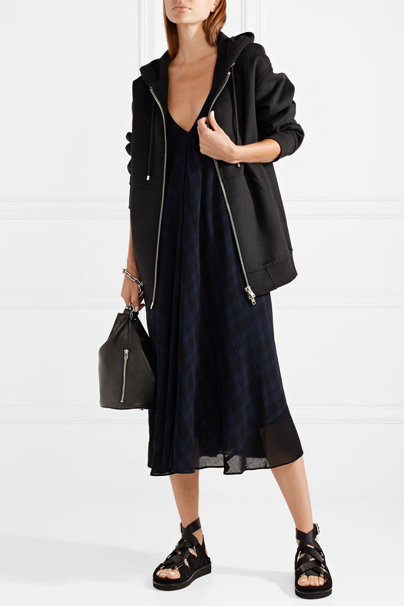 T BY ALEXANDER WANG Plaid Gauze Midi Dress
