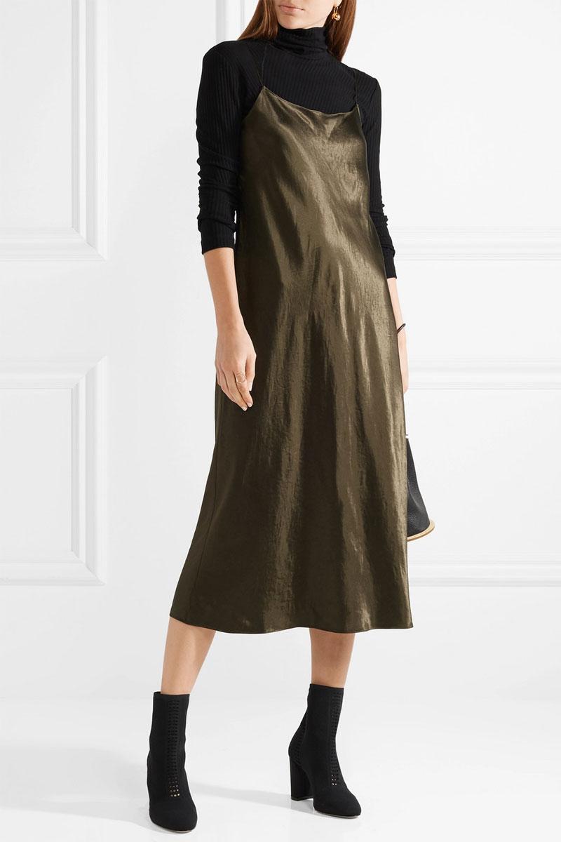 VINCE Hammered-satin Midi Dress