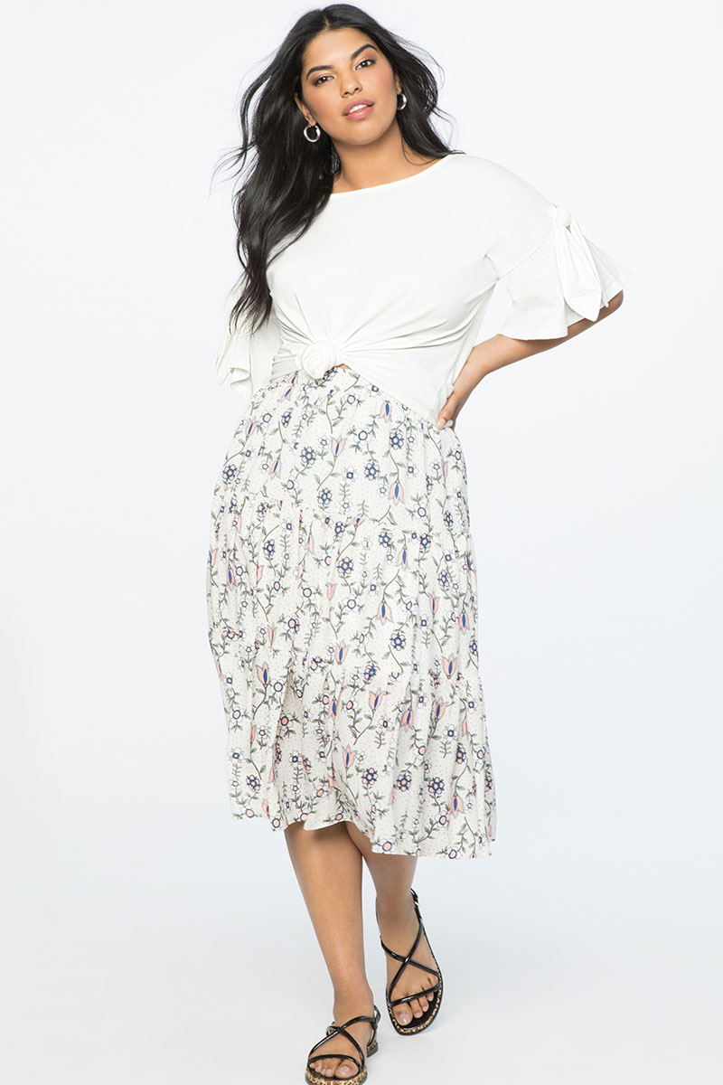 Eloquii Tiered Midi Skirt