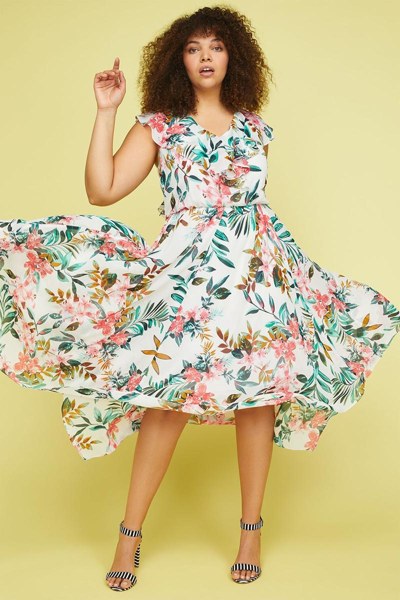 Lane Bryant Floral Ruffle Sleeve Woven Maxi Dress