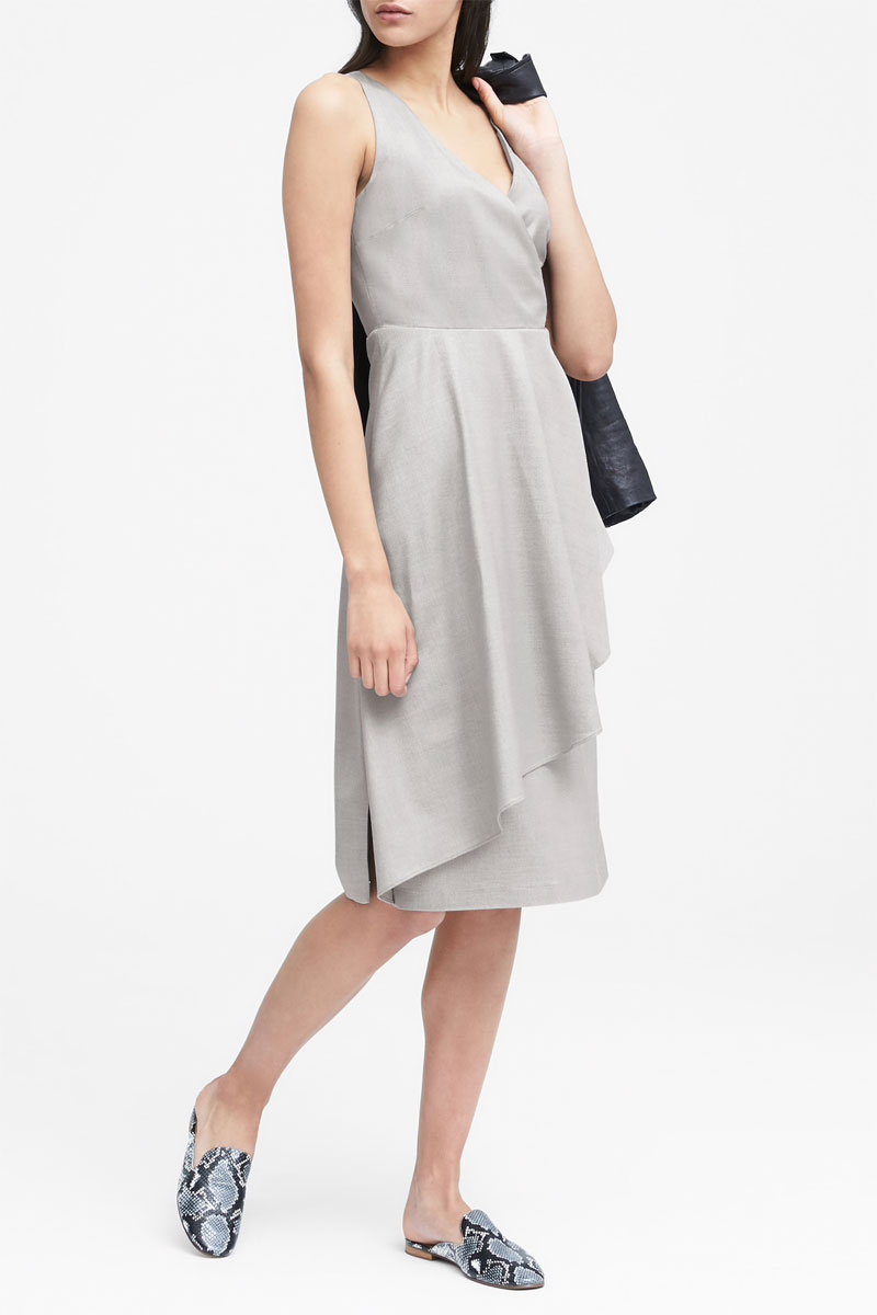 Banana Republic Wrap Effect Wool-Blend Midi Dress
