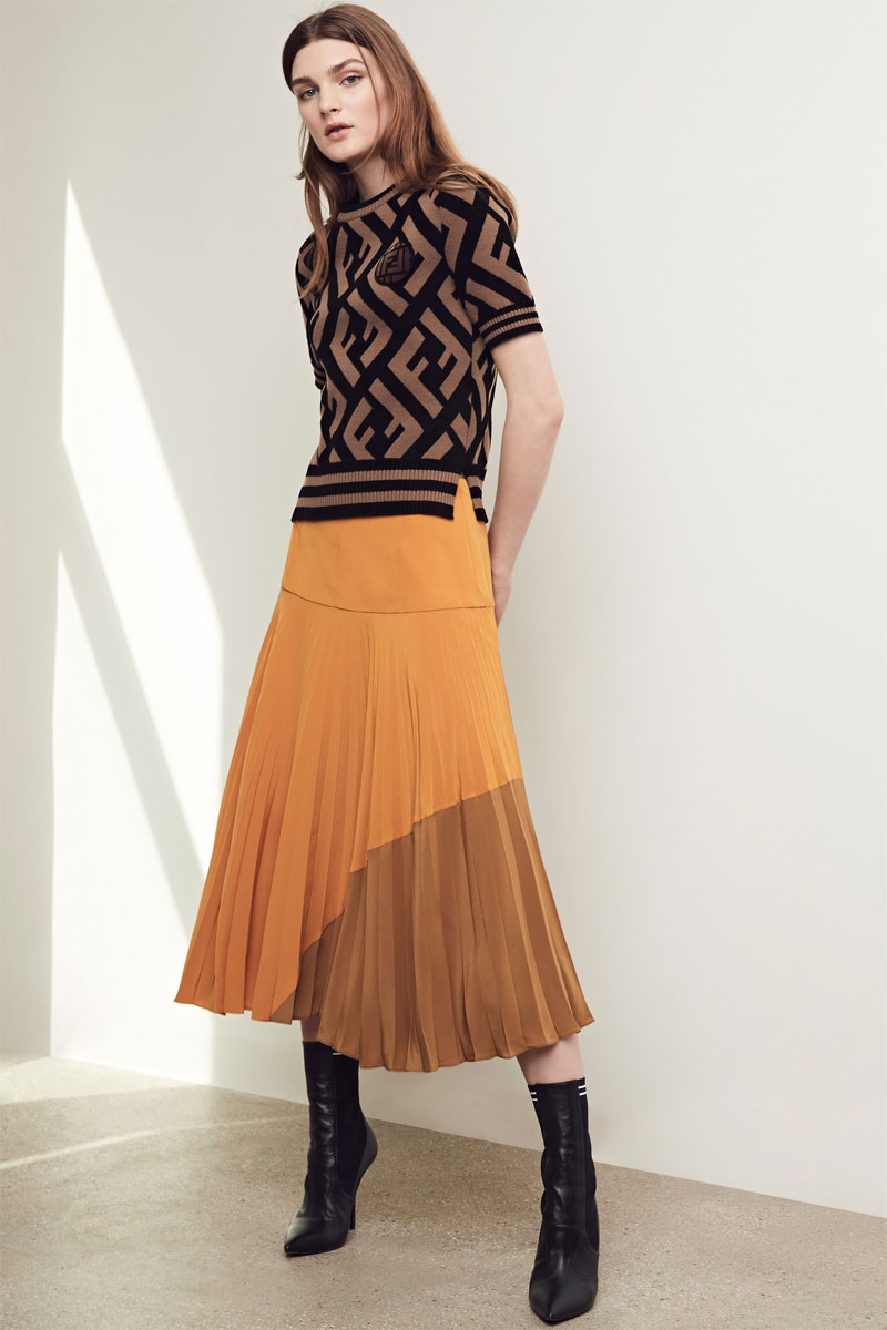 Fendi Pleated Silk Crepe de Chine Skirt