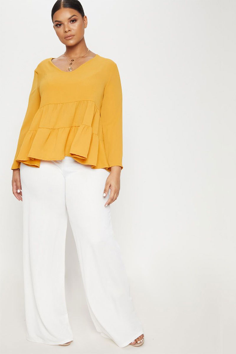 Plus Mustard Plunge Tiered Shirt