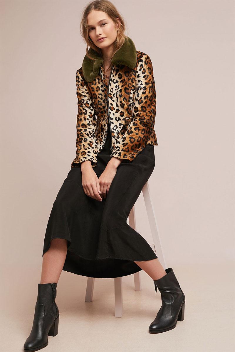 Anthropologie Wild Leopard Coat