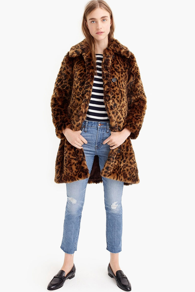 J. Crew Faux-fur Leopard Coat