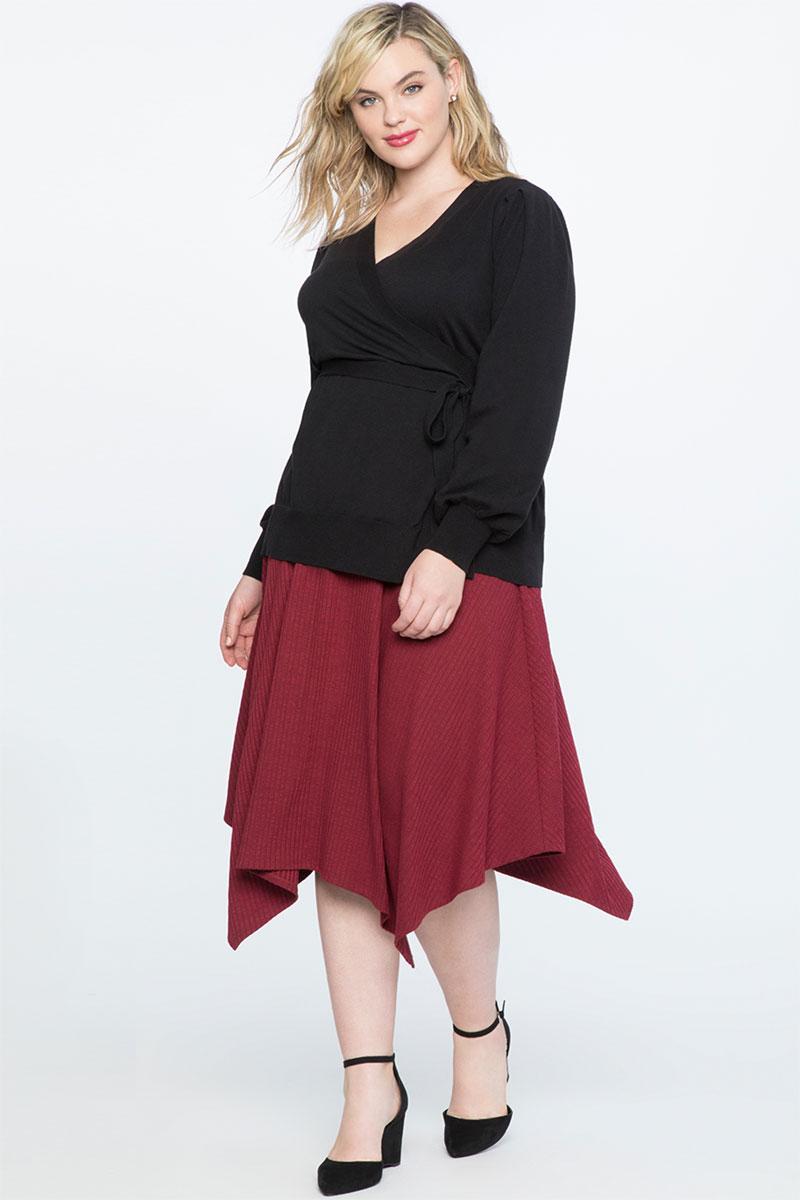 Eloquii Hankerchief Hem Rib Midi Skirt