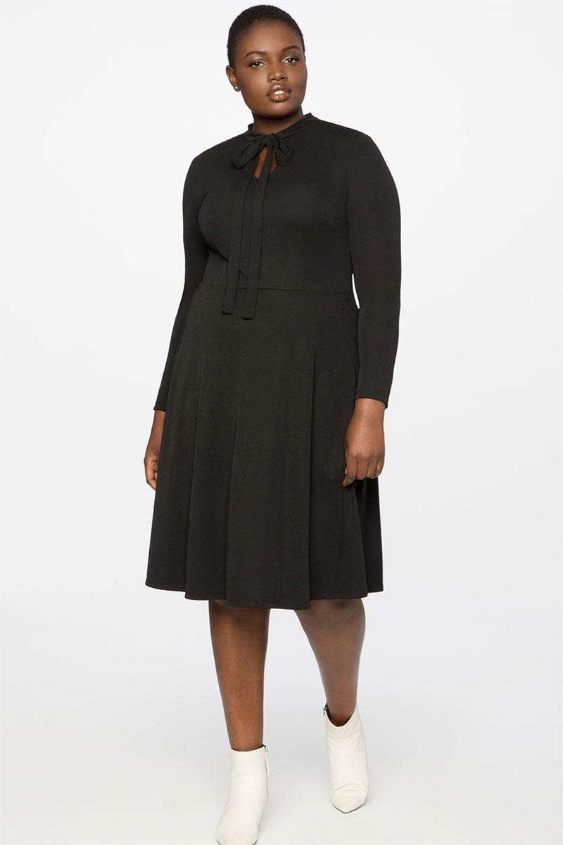 Eloquii Tie Neck Midi Dress