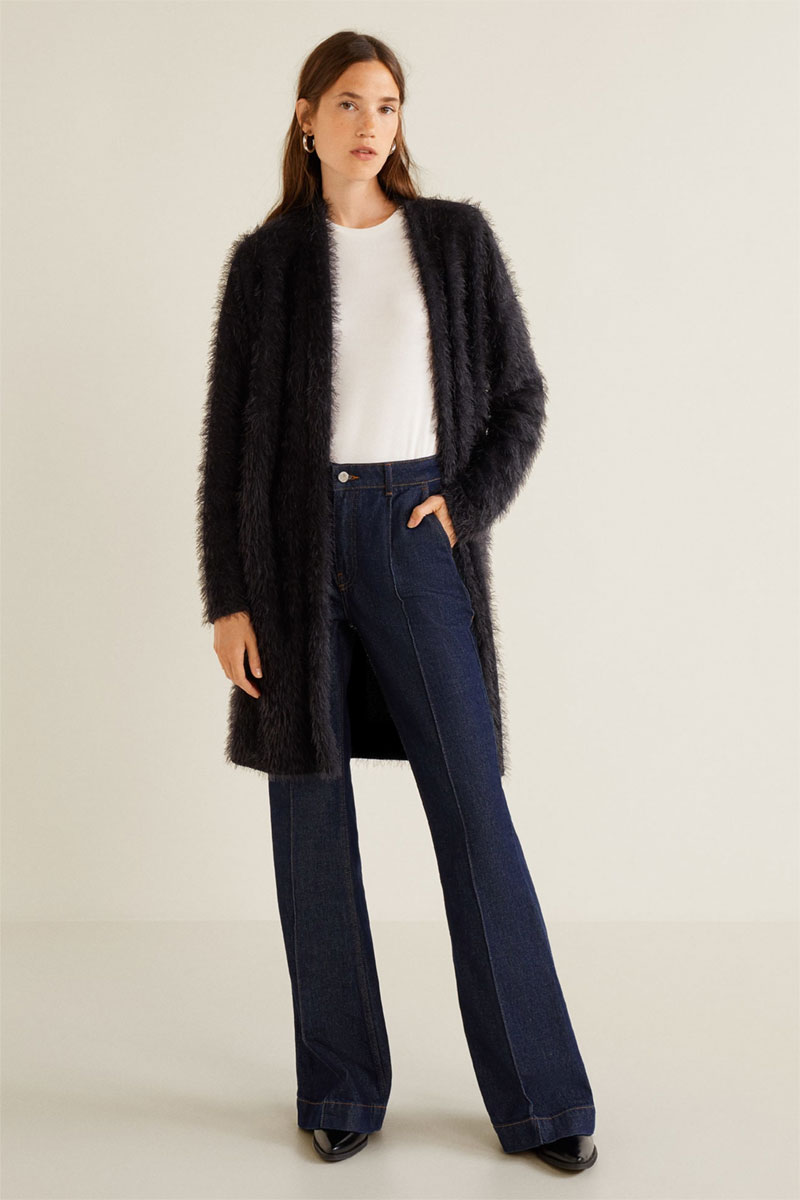 Mango Faux Fur Knit Cardigan