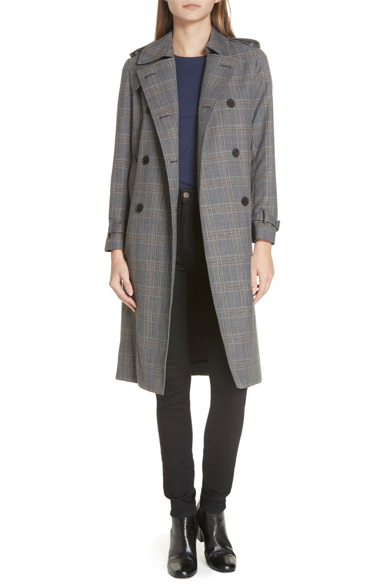 Sandro Long Plaid Coat