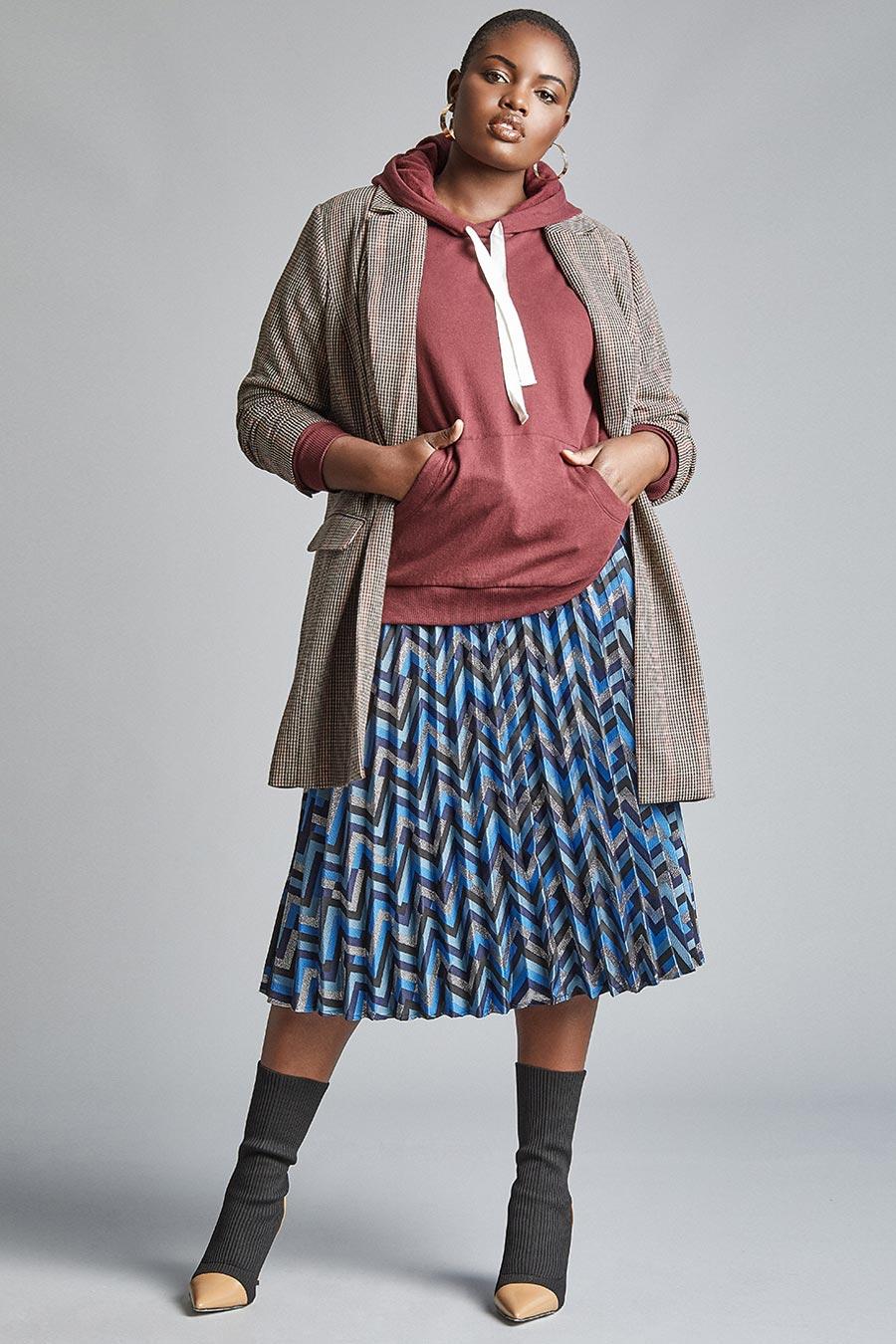 Eloquii Chevron Print Midi Skirt