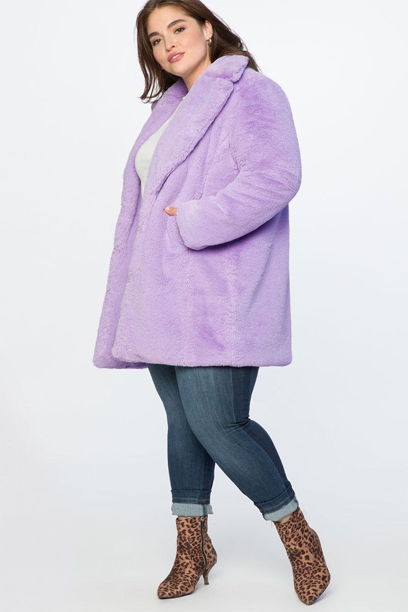 Eloquii Lilac Faux Fur Coat