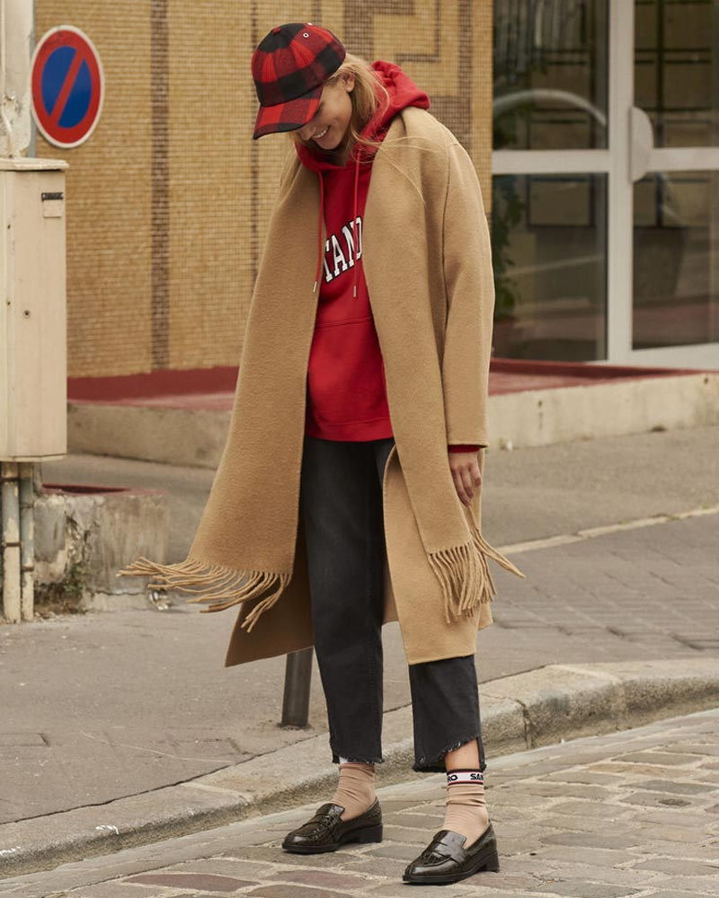 Sandro Coat with Fringed Scarf Collar